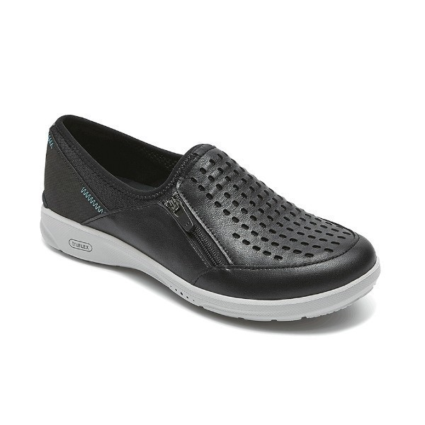 WOMEN'S TRUEFLEX SLIP ON BLACK LEATHER CASUAL Thumbnail