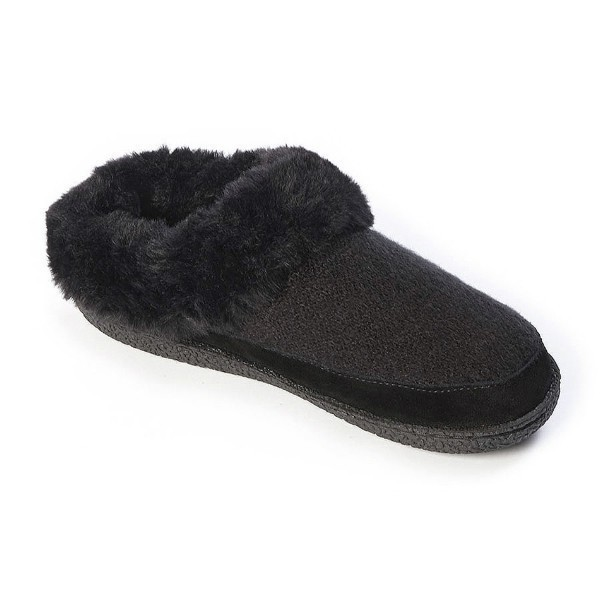 WOMEN'S MELLY BLACK KNIT/SUEDE SLIPPER Thumbnail