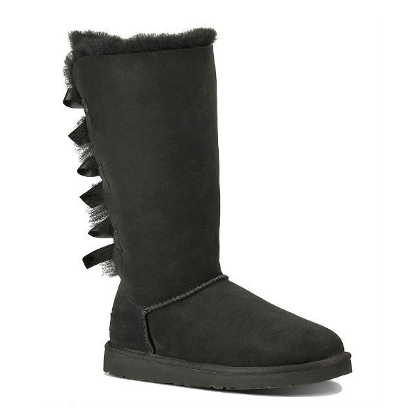 WOMEN'S BAILEY BOW TALL BLACK SUEDE BOOT Thumbnail