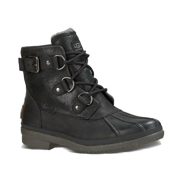 WOMEN'S CECILE BLACK LEATHER WATERPROOF BOOT Thumbnail