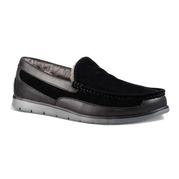 MEN'S FASCOT BLACK LEATHER/SUEDE LOAFER Thumbnail