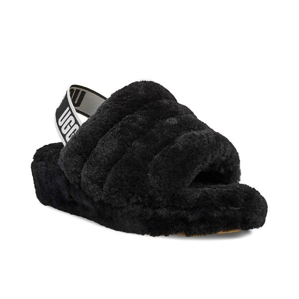 WOMEN'S FLUFF YEAH BLACK SLIDE SLIPPER Thumbnail