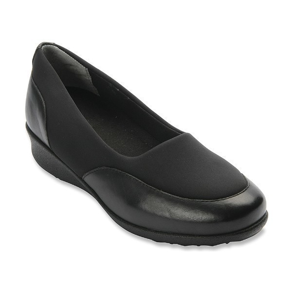 WOMEN'S LONDON BLACK LEATHER/STRETCH SLIP-ON Thumbnail