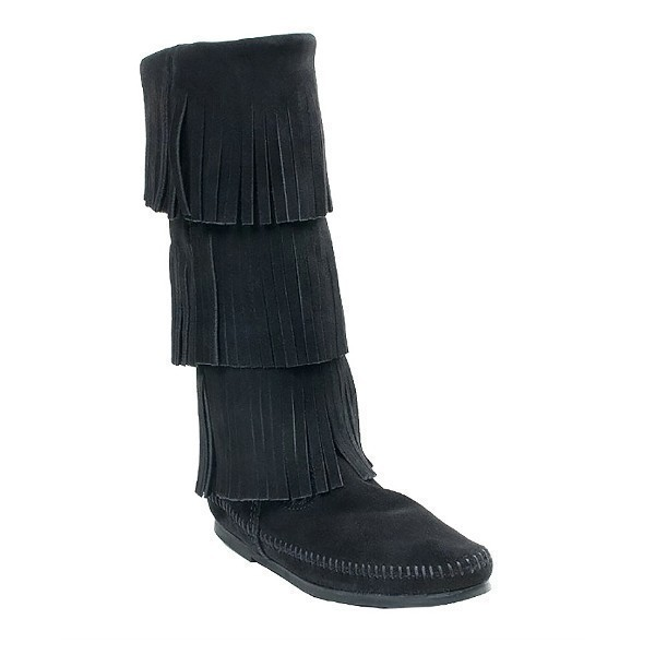 WOMEN'S 3-LAYER FRINGE BLACK BOOT Thumbnail