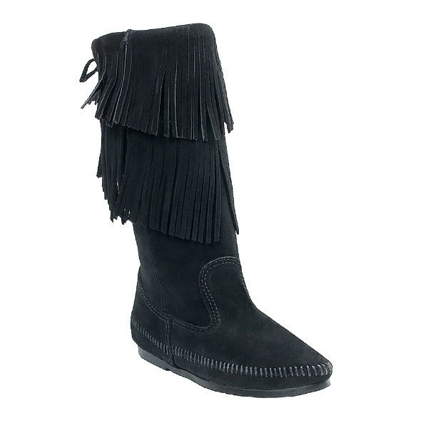 WOMEN'S 2-LAYER FRINGE BLACK BOOT Thumbnail