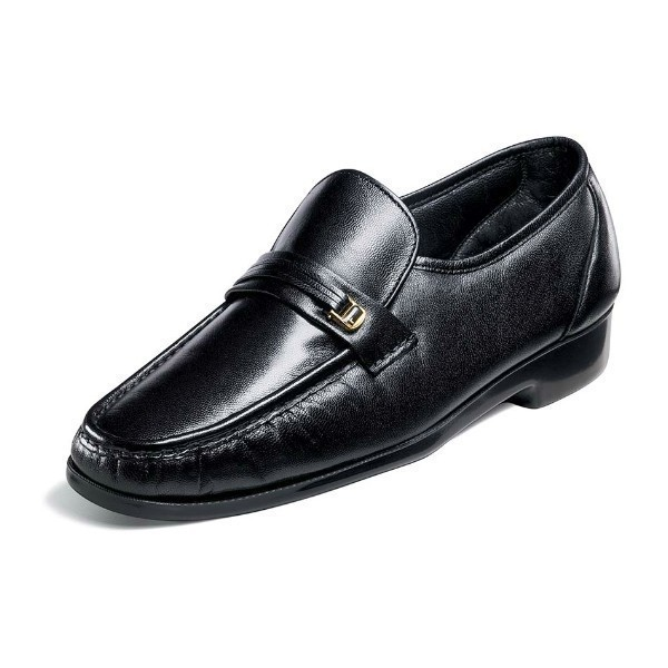 MEN'S RIVA BLACK LEATHER MOC TOE SLIP-ON Thumbnail