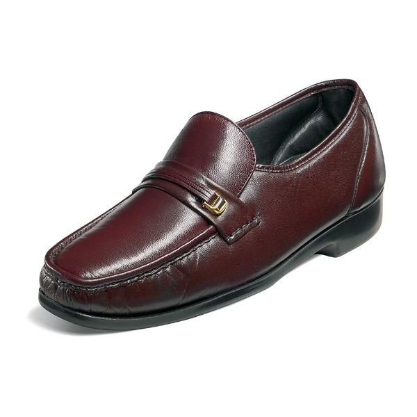 MEN'S RIVA BURGUNDY LEATHER MOC TOE SLIP-ON Thumbnail