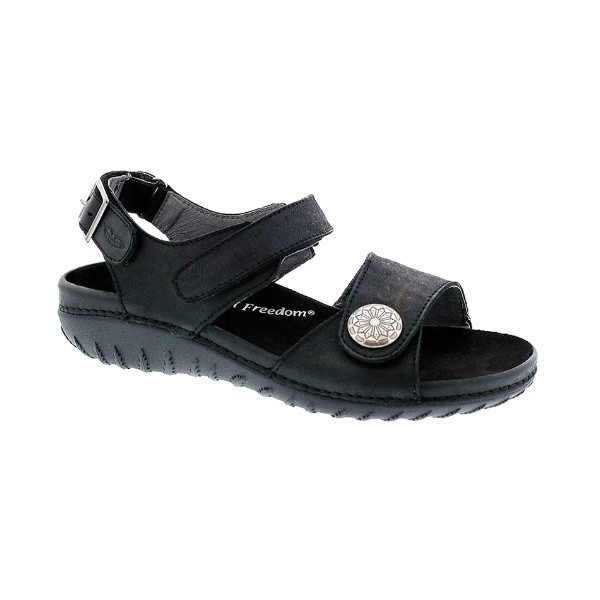 WOMEN'S WALKABOUT BLACK LEATHER SANDAL Thumbnail