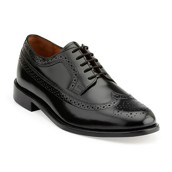 MEN'S MALDEN BLACK LEA WINGTIP DRESS SHOE Thumbnail