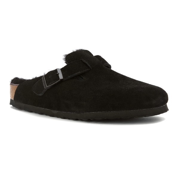 WOMEN'S BOSTON BLACK SHEARLING SUEDE CLOG Thumbnail