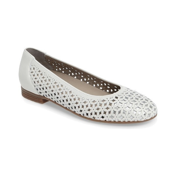 WOMEN'S STEPHANIE WHITE/SILVER DRESS FLAT Thumbnail