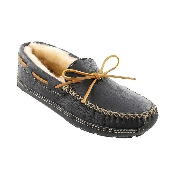 MEN'S SHEEPSKIN MOOSE BLACK MOCCASIN/SLIPPER Thumbnail