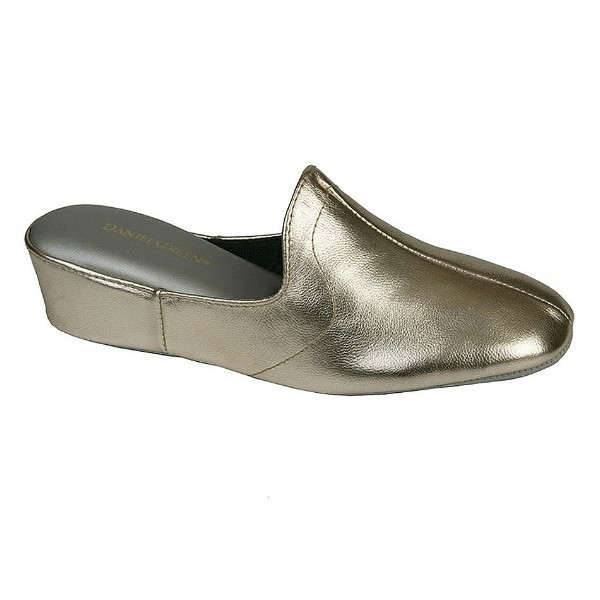 WOMEN'S GLAMOUR PEWTER LEATHER WEDGE SLIPPER Thumbnail