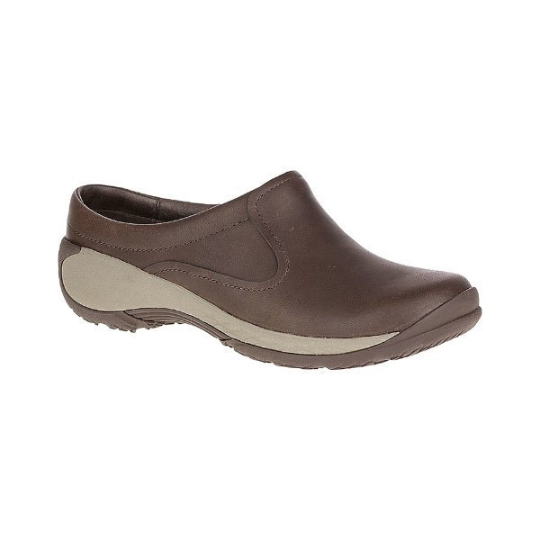 WOMEN'S ENCORE Q2 SLIDE BROWN LEATHER CLOG Thumbnail