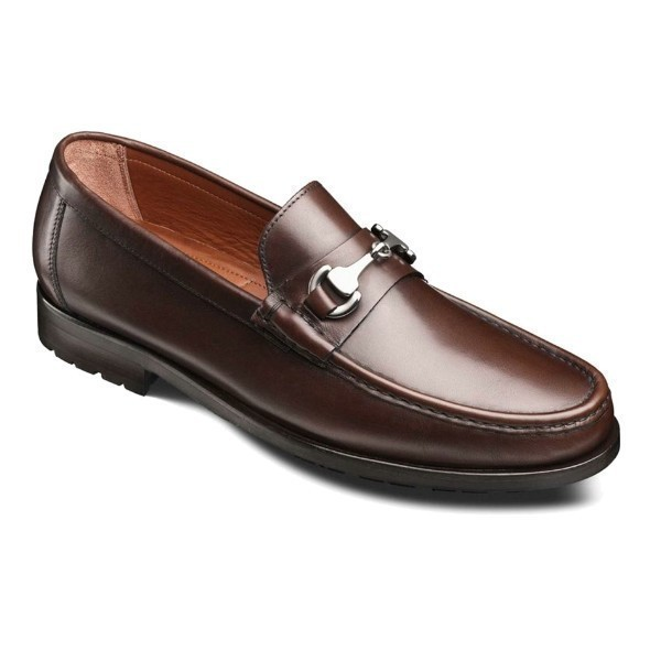 MEN'S AREZZO BROWN BURNISHED LEATHER LOAFER Thumbnail