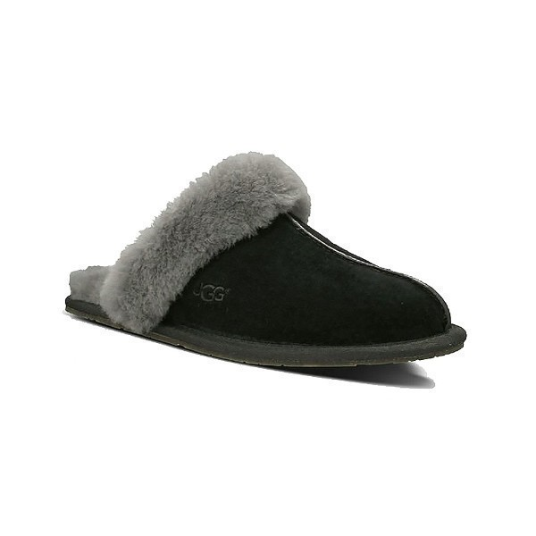 WOMEN'S SCUFFETTE II BLACK/GREY SUEDE SLIPPER Thumbnail