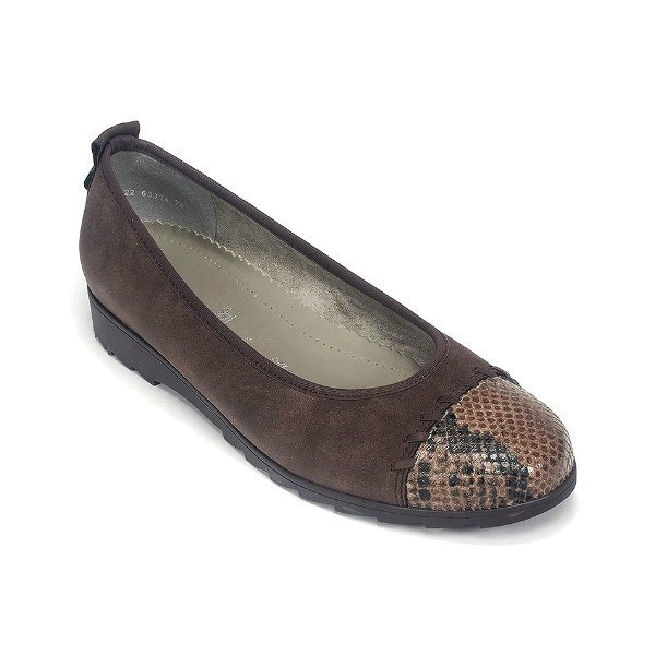 WOMEN'S PEACH BROWN RUVIDO/SNAKE FLAT Thumbnail