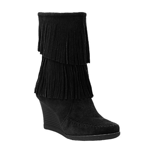 WOMEN'S FRINGE WEDGE BLACK SUEDE BOOT Thumbnail