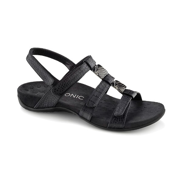 WOMEN'S AMBER BLACK CROC ADJUSTABLE SANDAL Thumbnail
