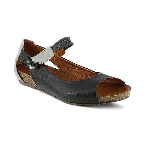 WOMEN'S ASIDE BLACK LEATHER MARY-JANE FLAT Thumbnail