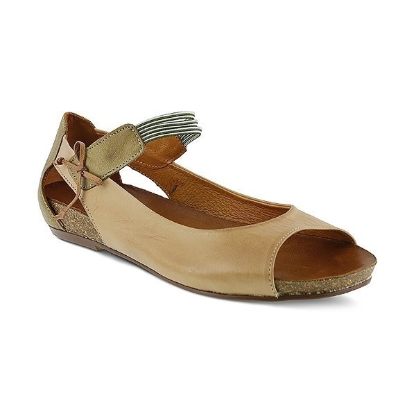 WOMEN'S ASIDE CAMEL LEATHER MARY-JANE FLAT Thumbnail