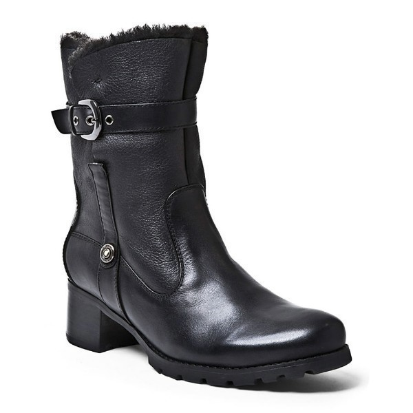 WOMEN'S FANTASIA BLACK LEA/SHEARLING BOOT Thumbnail