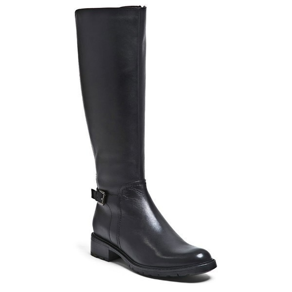 WOMEN'S VASSA BLACK LEATHER TALL DRESS BOOT Thumbnail