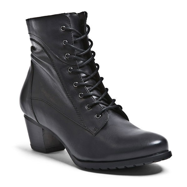 WOMEN'S ALI BLACK LEATHER SHORT DRESS BOOT Thumbnail