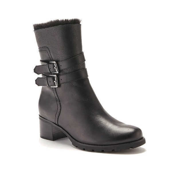 WOMEN'S FABIANA BLACK LEATHER SHORT BOOT Thumbnail