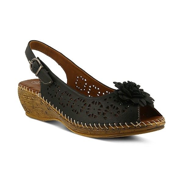 WOMEN'S BELFORD BLACK LEATHER WEDGE SANDAL Thumbnail