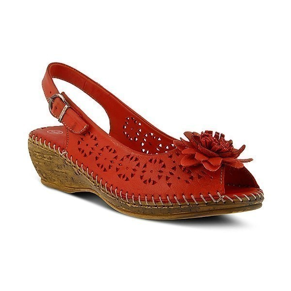 WOMEN'S BELFORD RED LEATHER WEDGE SANDAL Thumbnail