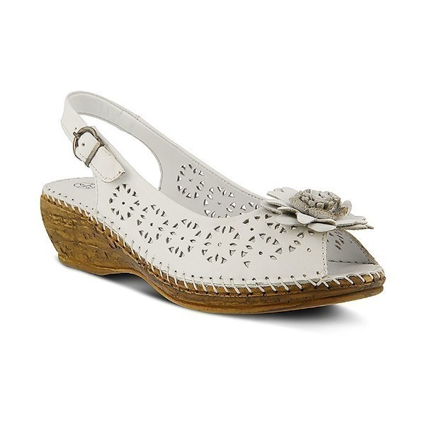 WOMEN'S BELFORD WHITE LEATHER WEDGE SANDAL Thumbnail