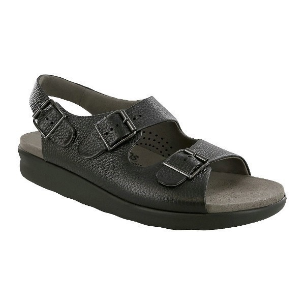 MEN'S BRAVO BLACK LEATHER SANDAL Thumbnail