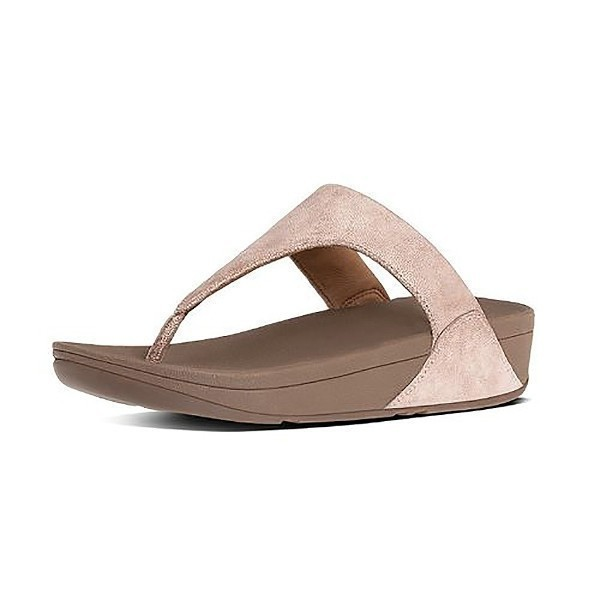 WOMEN'S SHIMMY SUEDE ROSE GOLD FLIP FLOPS Thumbnail