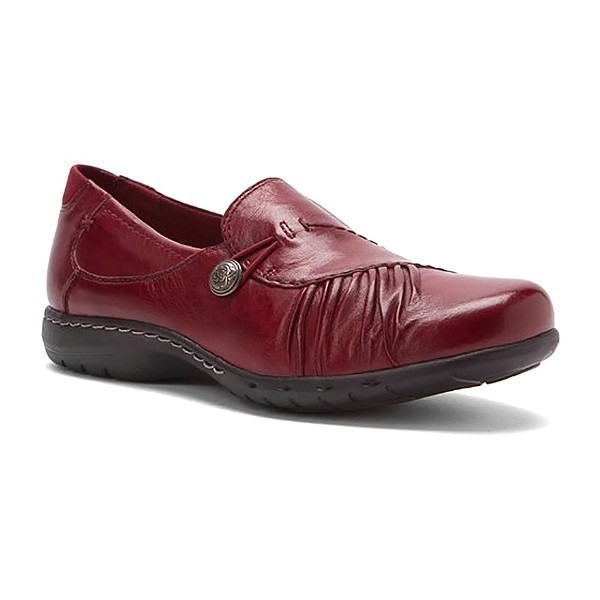 WOMEN'S PAULETTE RED LEATHER CASUAL SLIP-ON Thumbnail