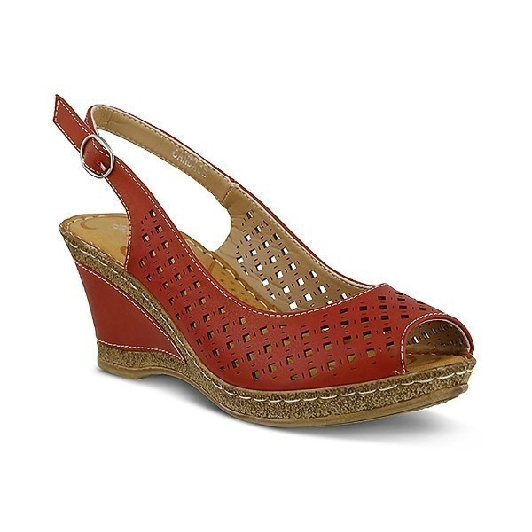 WOMEN'S PATRIZIA CANDACE RED WEDGE SANDAL Thumbnail