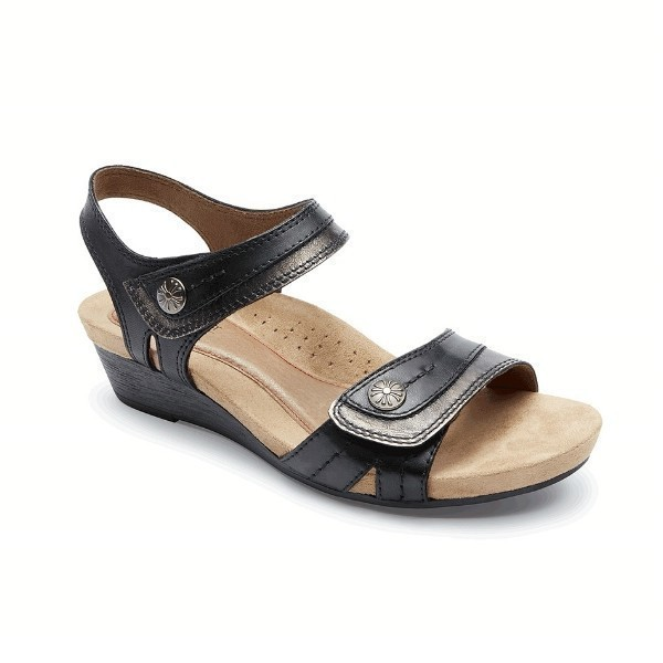 WOMEN'S HOLLYWOOD BUTTON SADDLE BLACK SANDAL Thumbnail