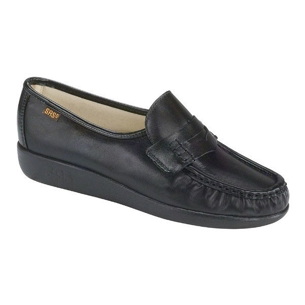 WOMEN'S CLASSIC BLACK LEATHER CASUAL SLIP-ON Thumbnail
