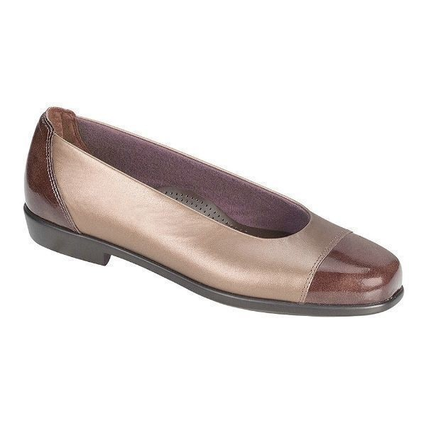 WOMEN'S COCO BRONZE LEATHER/PATENT DRESS FLAT Thumbnail