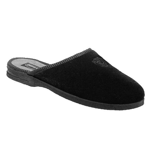 MEN'S DEERIDGE BLACK VELOUR OPEN BACK SLIPPER Thumbnail