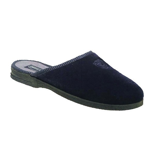 MEN'S DEERIDGE NAVY VELOUR OPEN BACK SLIPPER Thumbnail