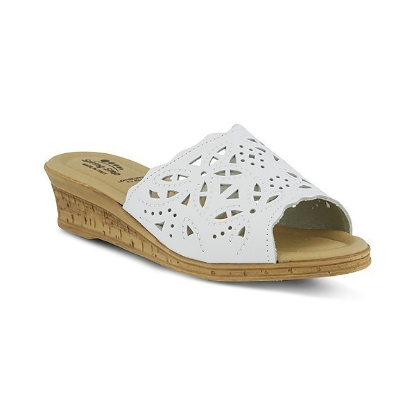 WOMEN'S ESTELLA WHITE WEDGE SLIDE SANDAL Thumbnail