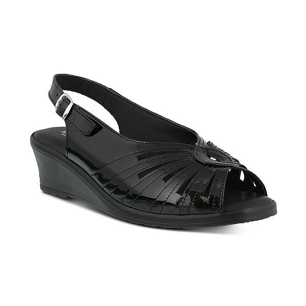 WOMEN'S GAIL BLACK PATENT SLING-BACK SANDAL Thumbnail