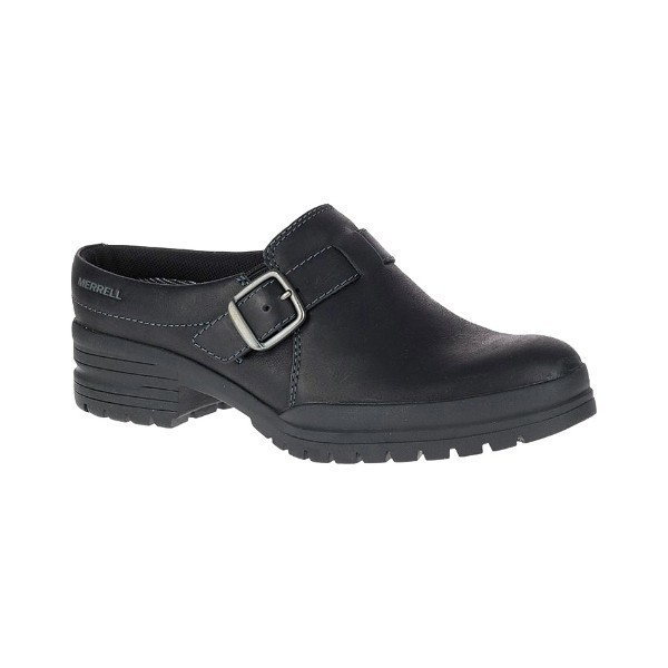 WOMEN'S CITY LEAF SLIDE BLACK LEATHER CLOG Thumbnail