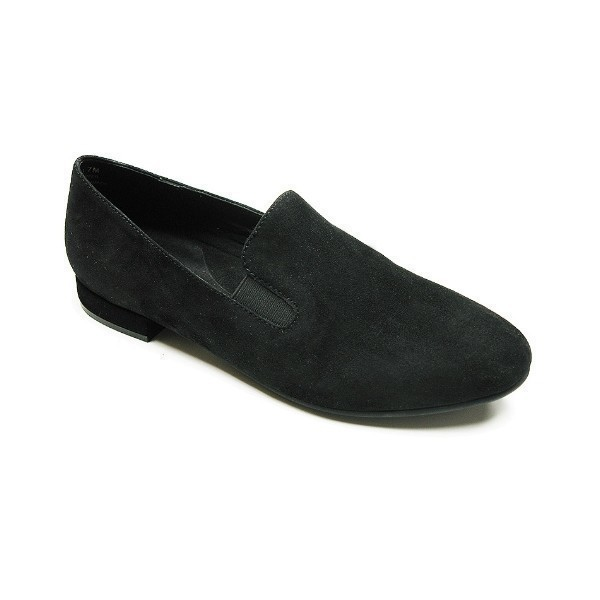 WOMEN'S LINA BLACK SUEDE DRESS FLAT SLIP-ON Thumbnail