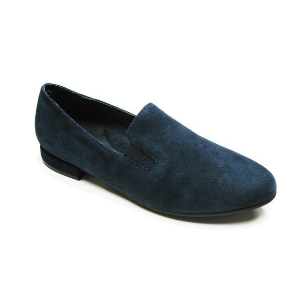 WOMEN'S LINA NAVY SUEDE DRESS FLAT SLIP-ON Thumbnail