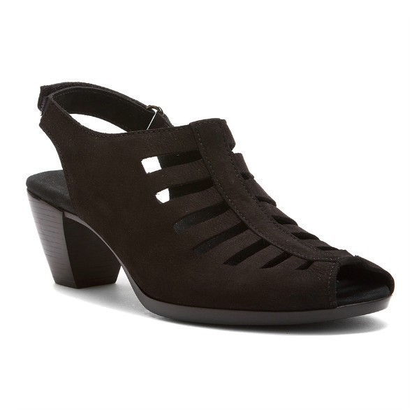 WOMEN'S ABBY BLACK NUBUCK DRESS SANDAL Thumbnail