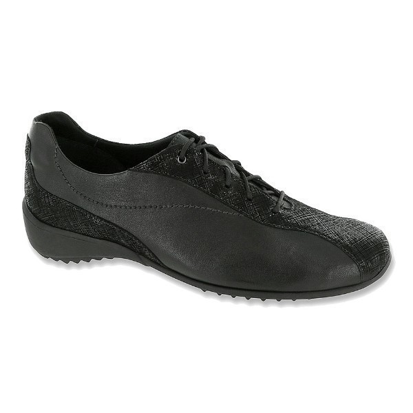 WOMEN'S SYDNEY BLACK LEATHER LACE-UP Thumbnail