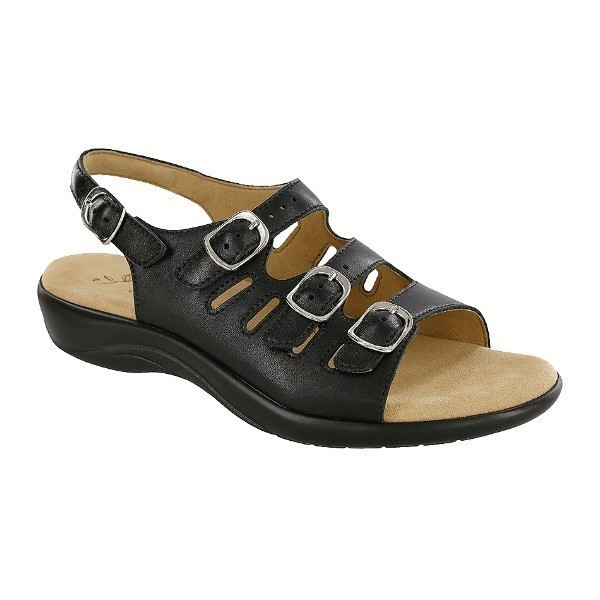 WOMEN'S MYSTIC BLACK LEATHER STRAP SANDAL Thumbnail
