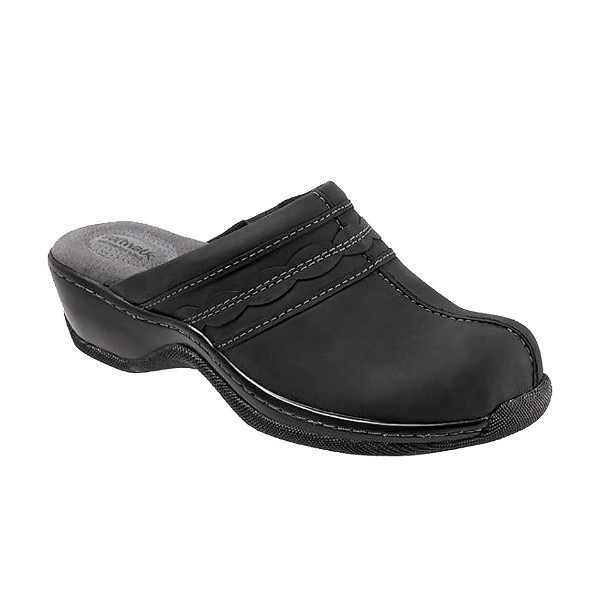 WOMEN'S ABBY BLACK OILED LEATHER CLOG Thumbnail